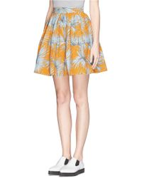 MSGM Leaf Print Flare Skirt - Lyst