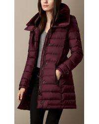 Burberry Downfilled Coat with Shearling Collar - Lyst