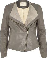 River Island Grey Leather Collarless Biker Jacket - Lyst