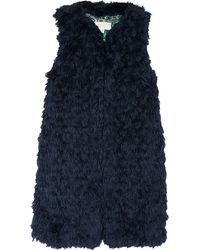 Michael by Michael Kors Navy Faux Lambswool Vest - Lyst