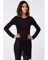 Missguided Soreenah Long Sleeve Asymmetric Jersey Top Black - Lyst