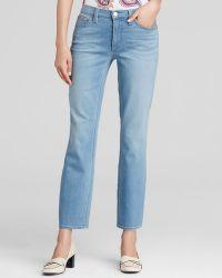 Tory Burch Crop Straight Leg Jeans In Blue Slate blue - Lyst