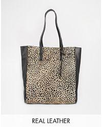 Becksöndergaard - Leather Shopper Bag With Leopard Panel - Lyst