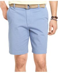 Izod Belted Twill Flat Front Shorts - Lyst