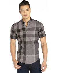 Burberry Charcoal and Grey Check Cotton Short Sleeve Button Front Shirt - Lyst