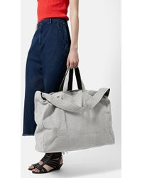 Topshop Embossed Suede Luggage Tote gray - Lyst
