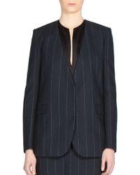 Lanvin | Collarless Pinstripe Wool Jacket | Lyst
