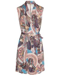 Issa Printed Stretch-jersey Wrap Dress - Lyst