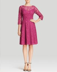 Adrianna Papell Dress  Three Quarter Sleeve Lace Fit and Flare - Lyst