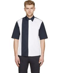 Marni White And Navy Colorblocked Shirt - Lyst