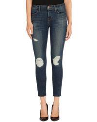 J Brand J Brand Cropped Mid-Rise Skinny Jean In Trouble Maker - Lyst