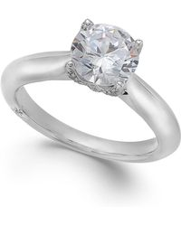 Marchesa Classic By Certified Diamond Solitaire Engagement Ring In 18K White Gold (1-5/8 Ct. T.W.) silver - Lyst
