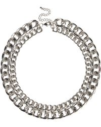 River Island Silver Tone Double Chain Necklace - Lyst