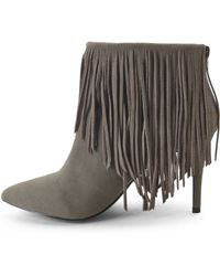 Lust For Life - Taupe Shrine Fringe Booties - Lyst