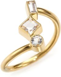 Elizabeth And James Roni White Sapphire Ring gold - Lyst