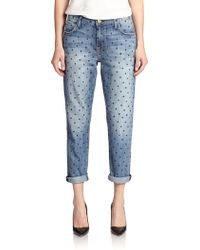 Current/Elliott The Fling Dot-Print Boyfriend Jeans - Lyst