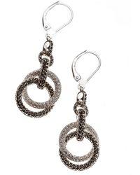 Judith Jack - Sterling Silver And Crystal Interlock Hoop Drop Earrings - Lyst