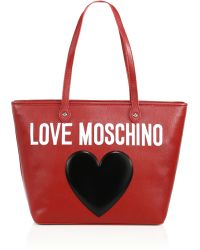 Love Moschino | Heart Logo Textured Faux Leather Tote | Lyst