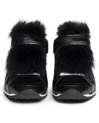 Pierre Hardy Fox Fur Vamp Leather And Calf Hair Sneakers black - Lyst