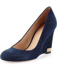 Tory Burch Astoria Suede Wedge Pump - Lyst