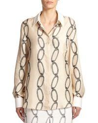 Altuzarra Silk Printed Button-Front Shirt - Lyst