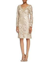 Sue Wong Long-Sleeve Sequined Lace Cocktail Dress - Lyst