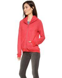 Splendid Zip Up Sweatshirt Carmine - Lyst