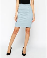 Ganni Classic Cotton And Lycra Pencil Skirt - Lyst