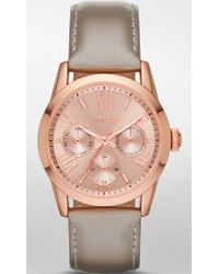 Express - Multifunction Leather Strap Watch  - Lyst