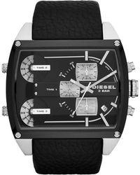 Diesel  Chronograph Mega Tank Black Leather Strap Watch 53mm - Lyst