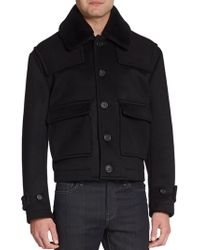 Burberry Prorsum Shearling-collar Cashmere-blend Coat - Lyst