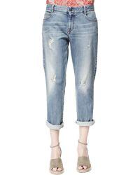 Stella McCartney Tomboy Ripped Ankle Jeans - Lyst