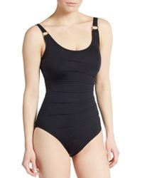 Calvin Klein Side-Pleated One-Piece Swimsuit - Lyst