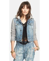 Free People Denim & Knit Jacket - Lyst