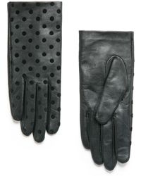 Mango Polka-dot Leather Gloves - Lyst