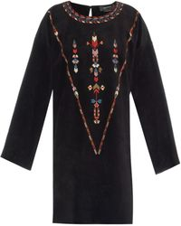 Isabel Marant Maggy Embroidered Suede Dress - Lyst