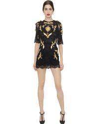 Dolce & Gabbana Embellished Valencienne Lace Dress - Lyst