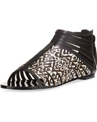 Cynthia Vincent - Fame Printed Leather Cage Sandal - Lyst