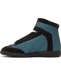 Maison Margiela Blue Mesh And Suede Future High_Top Sneakers - Lyst