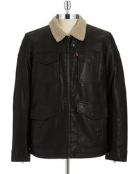 Levi's Faux Shearling Lined Bomber Jacket - Lyst