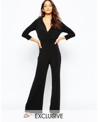 Never Fully Dressed   Plunge Neck 70s Jumpsuit With Wide Leg   Lyst