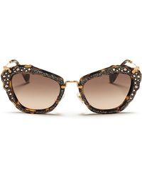 Miu Miu 'Noir' Glitter Tortoiseshell Acetate Cat Eye Sunglasses - Lyst