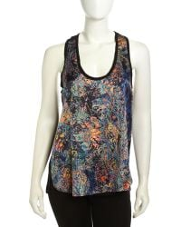 Nicole Miller Racerback Tapestry Print Combo Blouse - Lyst