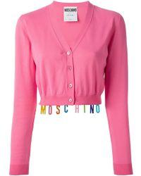 Moschino Logo Charm Cropped Cardigan - Lyst