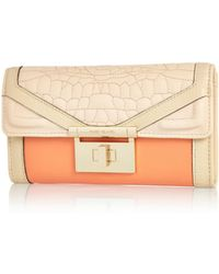 River Island Coral Croc Quilted Twist Lock Purse - Lyst