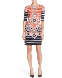 Eliza J | Printed Jersey Sheath Dress | Lyst