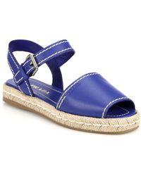 Prada Leather Espadrille Sandals blue - Lyst