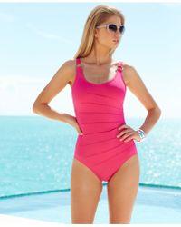 Calvin Klein Scoop-Neck Textured One-Piece - Lyst