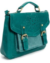 ASOS - Leather Satchel Bag with Floral Punch Out - Lyst