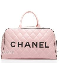 Chanel Preowned Pink Quilted Lambskin Xl Bowler Bag - Lyst